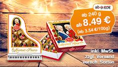 Angebot: Reber Mozart-Kugeln (ab 240g), Angebotspreis ab 8,49 Euro, Streichpreis ab 9,60 Euro, inkl. MwSt., zzgl. Versand, versch. Sorten - zum Bestellen hier klicken.