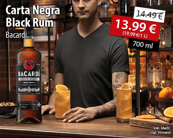 Angebot: Bacardi Carta Negra Black Rum (700ml), Angebotspreis: 13,99 Euro, Streichpreis: 14,49 Euro, zzgl. Versand, inkl. MwSt. - zum Bestellen hier klicken