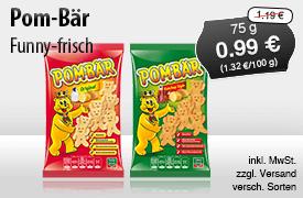 Angebot: Funny-frisch Pom-Bär (75g), Angebotspreis: 0,99 Euro, Streichpreis: 1,19 Euro, zzgl. Versand, inkl. MwSt., versch. Sorten - zum Bestellen hier klicken