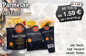 Angebot: San Louis Parmesan, ab 100g, Angebotspreis: ab 1,59 Euro; Streichpreis ab 1,99 Euro, inkl. MwSt. zzgl. Versaand, versch. Sorten - zum Bestellen hier klicken!