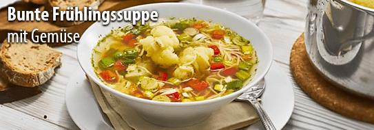 Bunte Frühlingssuppe mit Gemüse einfach selber machen - zum Rezept hier klicken!