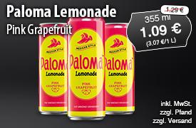 Angebot: Paloma Lemonade Pink Grapefruit (355ml), Angebotspreis 1,09 Euro, Streichpreis 1,29 Euro, inkl. MwSt., zzgl. Versand - zum Bestellen hier klicken!