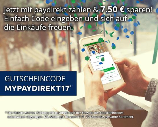 Jetzt mit Paydirect bezahlen und 7,50 Euro sparen.
