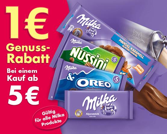 Kaufen Sie Milka Produkte im Wert von 5,00 Euro und sichern Sie sich einen Sofortrabatt von 1,00 Euro - zum Bestellen hier klicken