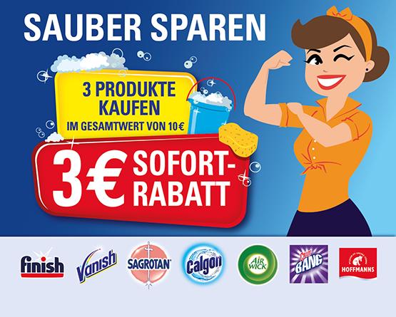 Kaufen Sie min. 3 Produkte der Marken Air Wick, Calgon, Cillit Bang, Finish, Sagrotan und/oder Vanish im Wert von min. 10,00 Euro und erhalten Sie einen Sofortrabatt von 3,00 Euro - zum Bestellen hier klicken