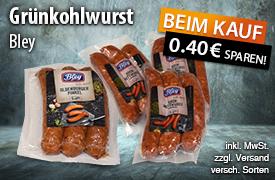 Angebot: Bei dem Kauf von Bley Grünkohl Würsten auf jeden Artikel 0,40 Euro sparen - zum Bestellen hier klicken