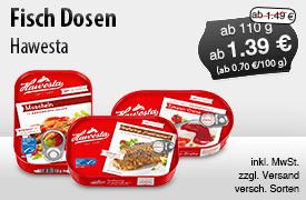 Angebot: Hawesta Fischkonserven (ab 110g), Angebotspreis: ab 1,39 Euro, Streichpreis: ab 1,49 Euro, zzgl. Versand, inkl. MwSt., versch. Sorten - zum Bestellen hier klicken