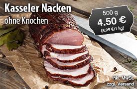 Kasseler Nacken ohne Knochen, Preis 8,99 Euro/kg, zzgl. Versand, inkl. MwSt. - zum Bestellen hier klicken