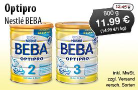 Angebot: Beba Optipro (800g), Angebotspreis: 11,99 Euro, STreichpreis: 12,45 Euro, zzgl. Versand, inkl. MwSt., versch. Sorten - zum Bestellen hier klicken!