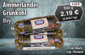 Angebot: Bley Ammerländer Grünkohl (500 g), Aktionspreis: 2,29 Euro, Streichpreis: 2,59 Euro, zzgl. Versand, inkl. MwSt. - zum Bestellen hier klicken