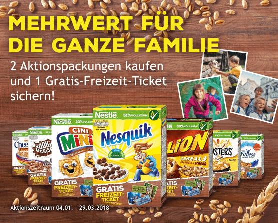 Kaufen Sie 2 Nestle Cerealien und sichern Sie sich ein Ticket für eine Freizeitaktivität ihrer Wahl - zum Bestellen hier klicken