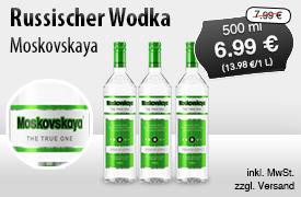 Angebot: Moskovskaya Russischer Wodka (500ml), Angebotspreis: 6,99 Euro, Streichpreis: 7,99 Euro, zzgl. Versand, inkl. MwSt., versch. Sorten - zum Bestellen hier klicken