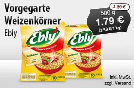 Angebot: Ebly Vorgegarte Weizenkörner im Kochbeutel (500g), Angebotspreis 0,79 Euro, Streichpreis 1,89 Euro, zzgl. Versand, inkl. MwSt. - zum Bestellen hier klicken