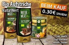 Angebot: Sparen Sie 0,30 Euro auf NaturWert Bio Brotaufstriche - zum Bestellen hier klicken!