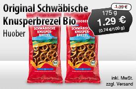 Angebot: Huober Original Schwäbische Knusperbrezel Bio (175g), Angebotspreis 1,29 Euro, Streichpreis 1,39 Euro - zum Bestellen hier klicken