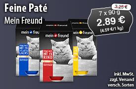 Angebot: Mein Freund Feine Paté (7x90g), Angebotspreis: 2,89 Euro, Streichpreis: 3,25 Euro, inkl. MwSt., zzgl. Versand, versch. Sorten - zum Bestellen hier klicken!