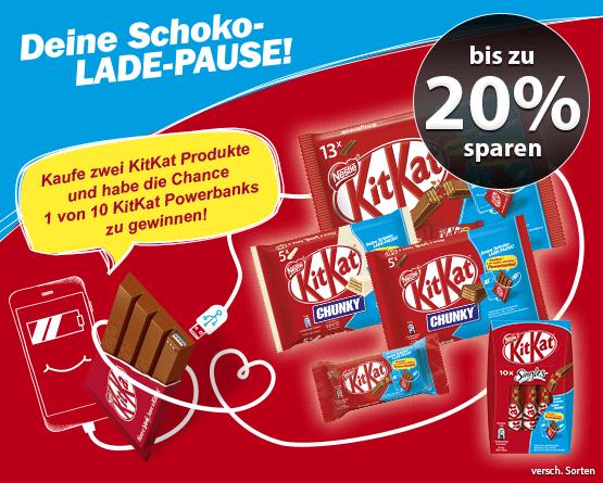 Sparen Sie 20 Prozent auf KitKat Produkte. Außerdem haben Sie die Chance 1 von 10 KitKat Powerbanks zu gewinnen, wenn Sie 2 KitKat Produkte kaufen - Zum Teilnehmen hier klicken!