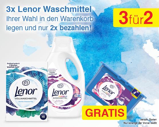 Angebot: 3x Lenor Waschmittel ihrer Wahl in den Warenkorb legen und nur 2x bezahlen - zum Bestellen hier klicken