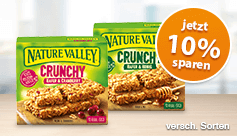 Angebot: Nature Valley Crunchy (210g), Angebotspreis: 1,79 Euro, Streichpreis: 1,99 Euro, versch. Sorten, inkl. MwSt., zzgl. Versandkosten - zum Kaufen hier klicken!