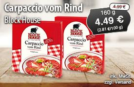 Angebot: Block House Carpaccio vom Rind (160g), Angebotspreis: 4,49 Euro, Streichpreis: 4,99 Euro, zzgl. Versand, inkl. MwSt. - Zum Bestellen hier klicken