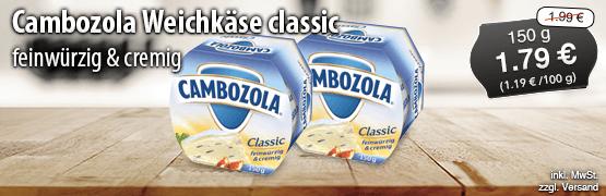 Angebot: Cambozola Weichkaese classic feinwuerzig und cremig (150g), Angebotspreis: 1,79 Euro, Streichpreis: 1,99 Euro, zzgl. Versand, inkl. MwSt. - zum Bestellen hier klicken