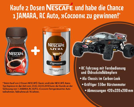 Beim Kauf von Nescafe Classic oder Nescafe Azera Typ Espresso in der Zeit vom 23.02. bis zum 02.03.2018 können Sie an der Verlosung eines Jamara, RC Auto, Cocoon ferngesteuertes Auto teilnehmnen - Zum teilnehmen hier klicken
