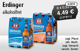 Angebot: Erdinger alkoholfrei (6x0,33l), Angebotspreis: 4,19 Euro, Streichpreis: 4,69 Euro, zzgl. Pfand, inkl. MwSt., zzgl. Versand, versch. Sorten - zum Bestellen hier klicken