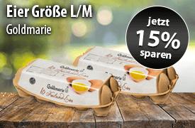 Angebot: Sparen Sie 15 Prozent auf Goldamarie Eier der Groeße M und L - zum Bestellen hier klicken