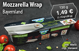 Angebot: Bayernland Mozzarella Wrap (130g), 1,49 Euro, inkl. MwSt., zzgl. Versand - zum Bestellen hier klicken