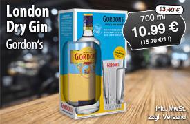 Angebot: Gordon´s London Dry Gin (700ml), Angebotspreis: 10,99 Euro, Streichpreis: 13,49 Euro, zzgl. Versand, inkl. MwSt. - zum Bestellen hier klicken