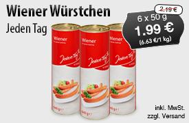 Angebot: Jeden Tag Wiener Wuerstchen (6x50g), Angebotspreis: 1,99 Euro, Streichpreis: 2,19 Euro, inkl. MwSt., zzgl. Versand - zum Bestellen hier klicken