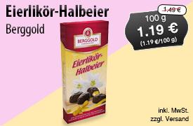 Angebot: Berggold Eierlikoer Halbeier (100g), Angebotspreis: 1,19 Euro, Streichpreis: 1,49 Euro, zzgl. Versand, inkl. MwSt. - Zum Bestellen hier klicken