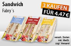 NEU: Kaufe 3 Fabry's Sandwiches und bezahle nur 4,47 Euro, inkl. MwSt., zzgl. Versand - zum Bestellen hier klicken