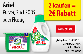 Angebot: Kaufen Sie 2 Ariel Produkte und Sie erhalten einen Sofortrabatt von 2 Euro - zum Bestellen hier klicken