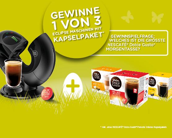 Beantworten Sie die Gewinnspielfrage und haben Sie die Chance eine von 3 Nescafe Eclipse Maschinen mit Kapselpaket zu gewinnen!  - Zum teilnehmen hier klicken