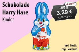 Angebot: Kinder Schokolade Harry Hase (160g), Angebotspreis: 3,29 Euro, Streichpreis: 3,49 Euro, zzgl. Versand, inkl. MwSt. - Zum Bestellen hier klicken