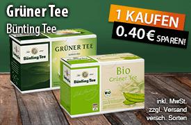 Angebot: Kaufen Sie eine Packung Buenting Gruener Tee und sparen Sie 40 Cent - zum Bestellen hier klicken