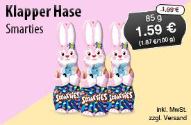 Angebot: Smarties Klapperhasen  (85g), Angebotspreis: 1,59 Euro, Streichpreis: 1,99 Euro, zzgl. Versand, inkl. MwSt. - Zum Bestellen hier klicken