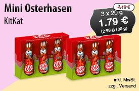 Angebot: KitKat Mini Osterhasen (3x20g), Angebotspreis: 1,79 Euro, Streichpreis: 2,19 Euro, zzgl. Versand, inkl. MwSt. - Zum Bestellen hier klicken