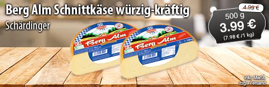 Angebot: Schaerdinger Berg Alm Schnittkaese wuerzig-kraeftig (500g), Angebotspreis 3,99 Euro, Streichpreis 4,99 Euro, inkl. MwSt., zzgl. Versand - zum Bestellen hier klicken
