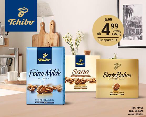 Angebot: Tchibo Feine Milde, Sana, Beste Bohne (500g), Angebotspreis ab 4,99 Euro, Streichpreis: 5,99 Euro, zzgl. Versand, inkl. MwSt., versch. Sorten - Zum Bestellen hier klicken