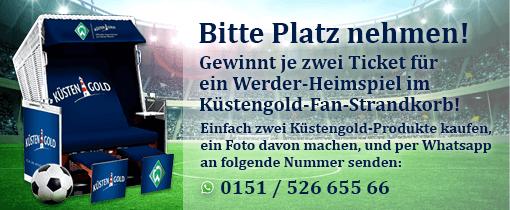 2 Kuestengold Produkte kaufen und 2 Tickets für das Werder Heimspiel gewinnen
