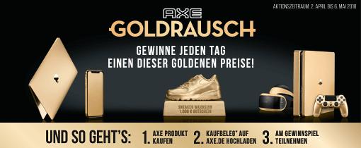 Axe Goldrausch - Gewinne jeden Tag einen dieser goldenen Preise