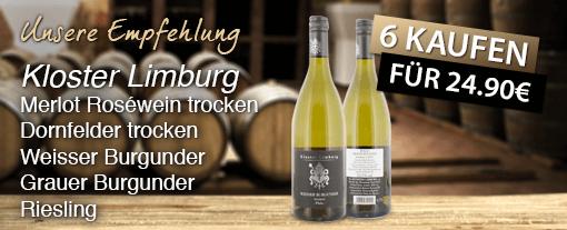 Wein des Monats: Kloster Limburg, verschieden Sorten (750 ml), Streichpreis 4,99 Euro, Aktionspreis 4,15 Euro, inkl. MwSt., zzgl. Versand - Zum Bestellen hier klicken