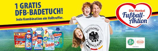 Die Henkel Fußball Aktion - Kaufen Sie mindestens 3 Produkte im Wert von 11 Euro und erhalten 1 DFB Badetuch Gratis