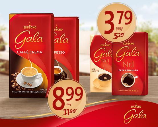 Angebot: Eduscho Gala, verschiedene Sorten, ab 500g, Angebotspreis: ab 3,79 Euro, Streichpreis: ab 5,29 Euro, inkl. MwSt., zzgl. Versand - zum Bestellen hier klicken