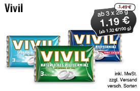 Angebot: Vivil, ab 3 x 28 g, Angebotspreis: 1,19 Euro, Streichpreis: 1,49 Euro, zzgl. Versand, inkl. MwSt., versch. Sorten - zum Bestellen hier klicken