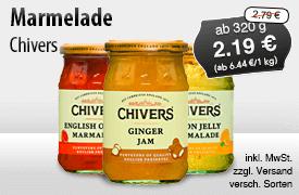 Angebot: Chivers, ab 320 g, Angebotspreis: 2,19 Euro, Streichpreis: 2,79 Euro, zzgl. Versand, inkl. MwSt., versch. Sorten  - zum Bestellen hier klicken