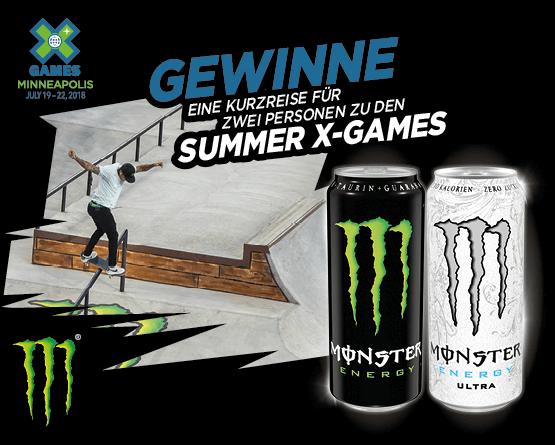 Angebot: Jetzt Monster Produkte kaufen und mit etwas Glueck fahren Sie zu den Summer X Games nach Minneapolis - Zum Bestellen hier klicken