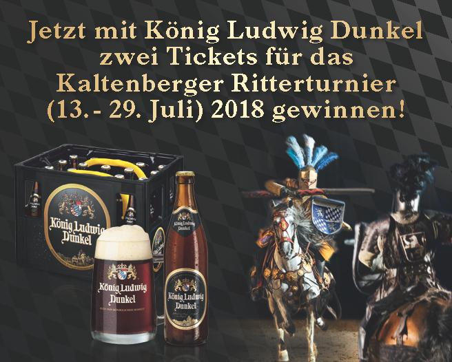 Angebot: Jetzt mit Koenig Ludwig Dunkel zwei Tickets fuer das Kaltenberger Rittertunier 2018 gewinnen - Zum Bestellen hier klicken